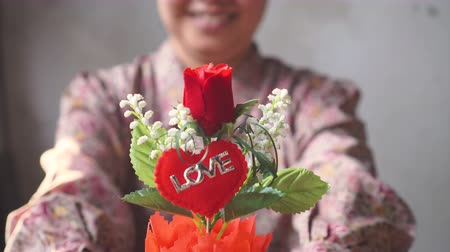 Asian lady with smile gives a flowerpot of red rose to you. for love one. Stock Footage