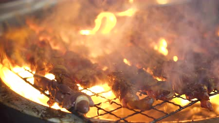 mala : Many kinds of meat getting grill on stove and it is too hot!