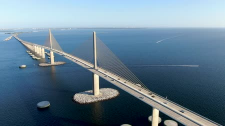 the suspension bridge : Aerial view of Sunshine Skyway, Tampa Bay Florida, USA. Cable-stayed bridge spanning the Lower Tampa Bay connecting St. Petersburg