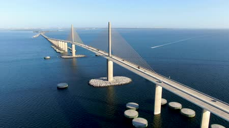 tampa bay : Aerial view of Sunshine Skyway, Tampa Bay Florida, USA. Cable-stayed bridge spanning the Lower Tampa Bay connecting St. Petersburg