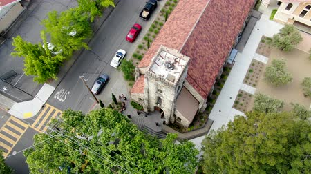 art : Aerial view of St. Helena Roman Catholic Church, historic church building in St. Helena, Napa Valley, California., USA. Built from 1889 to 1890, the church was constructed with stone. 05182018