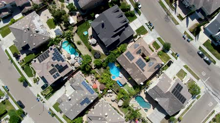 neighbor : Aerial top view suburban neighborhood with big villas next to each other, San Diego, California, USA. Residential modern subdivision luxury house.