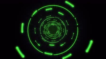 sinal : Green abstract light circles seamless looping. Animation of an abstract background tunnel loop with shiny light circles. Futuristic illumination neon space. Abstract circles neon tunnel.