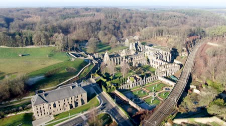 destroyed building : Aerial view of Villers Abbey ruins, an ancient Cistercian abbey located near the town of Villers-la-Ville in the Brabant province of Wallonia, Belgium