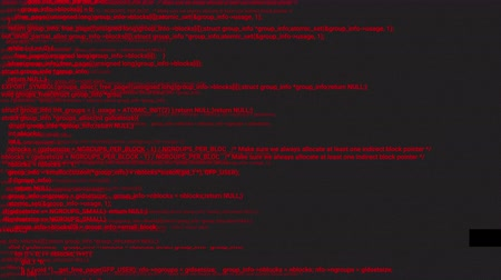 кодирование : Red screen coding hacker concept animation with glitch. Programming code typing error. Big data and Internet cyber attack. Programming code abstract. Blockchain concept, computer digital code