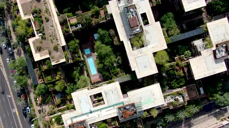 anka kuşu : Aerial top view of modern building in Scottsdale, desert city in Arizona east of state capital Phoenix. Downtowns Old Town Scottsdale