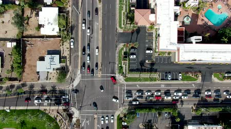 скат : Aerial top view of Scottsdale desert city in Arizona east of state capital Phoenix. Downtowns Old Town Scottsdale Стоковые видеозаписи