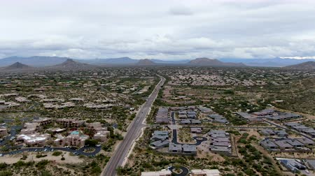 феникс : Aerial view of Scottsdale desert city in Arizona east of state capital Phoenix. Downtowns Old Town Scottsdale Стоковые видеозаписи