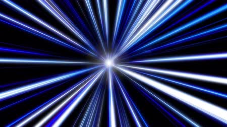 prędkość : Entering blue space warp. Abstract background with fast flying light streaks. Speed line and stripes flying into glowing tunnel.