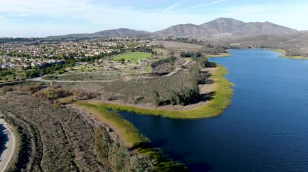 drinking water supply : Aerial view of Otay Lake Reservoir with blue sky and mountain on the background, Chula Vista, California. USA