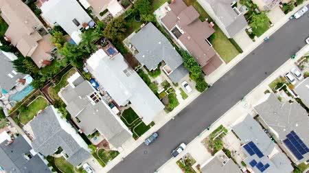 felosztás : Aerial view of urban sprawl. Suburban packed homes neighborhood with road. Vast subdivision in Irvine, California, USA
