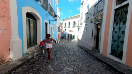 Colorful colonial houses at the historic district of Pelourinho. The historic center of Salvador, Bahia, Brazil. Historic neighborhood famous attraction for tourist sightseeing. February, 22nd, 2019