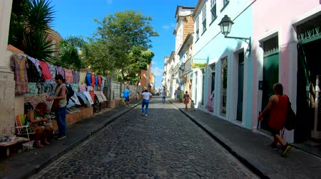 colonial : Colorful colonial houses at the historic district of Pelourinho. The historic center of Salvador, Bahia, Brazil. Historic neighborhood famous attraction for tourist sightseeing. February, 22nd, 2019