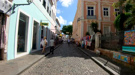 brazilian : Colorful colonial houses at the historic district of Pelourinho. The historic center of Salvador, Bahia, Brazil. Historic neighborhood famous attraction for tourist sightseeing. February, 22nd, 2019