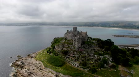 St Michaels Mount is a small tidal island in Mounts Bay, Cornwall, England, United Kingdom. Castle and chapel on the top of the mount. September 22nd, 2020