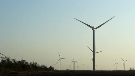 energy generation : Wind turbines at dawn, green energy. Wind energy, wind power Stock Footage