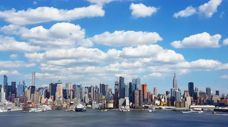 New York City Skyline and Clouds Time Lapse 4K
