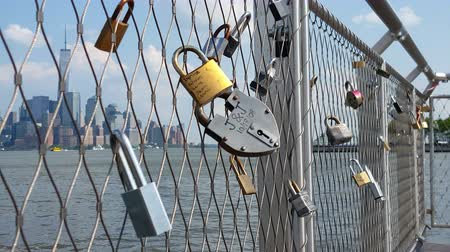 View of Padlocks and Manhattan Background 4K Wideo