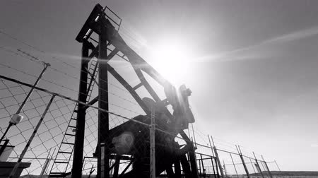 Oil Well Rig Pump Black and White 4K