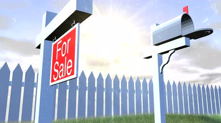immobilien : Real Estate Sign Mailbox en Picket Fence HD Stockvideo
