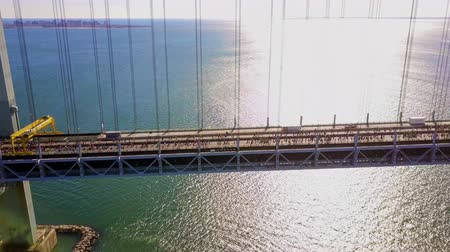 drone : Runners of the New York City Marathon Crossing  Verrazano Bridge from NYPD Helicopter 4K