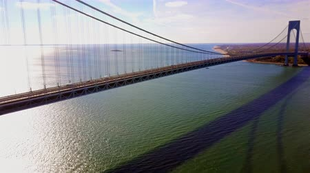 Runners of the New York City Marathon Crossing  Verrazano Bridge from NYPD Helicopter 4K