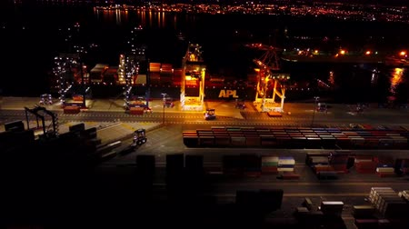 gramado : Aerial View Containers Cargo Ship at Night 4k Stock Footage