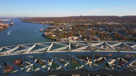 Aerial View Bridge Construction and Boat 4K Wideo
