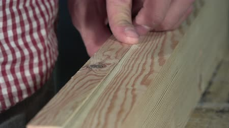 paneling : Gluing and clamping two wooden boards Stock Footage