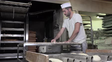 yaldız : rolling and shaping dough baguette bread Stok Video