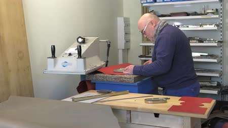 cutting leather parts with a press cutter Stock Footage