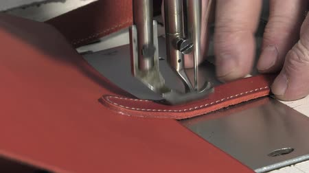 Sewing pieces of leather