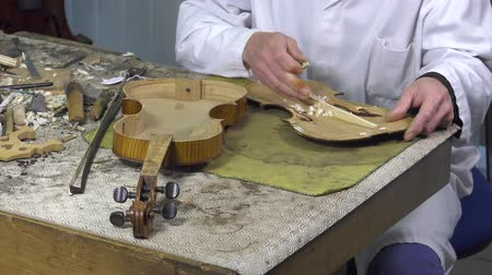 pétala : Luthier forms the harmony bar of a violin Stock Footage