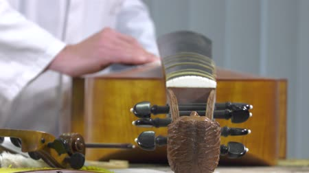 A luthier polished surface area of cello Stock Footage