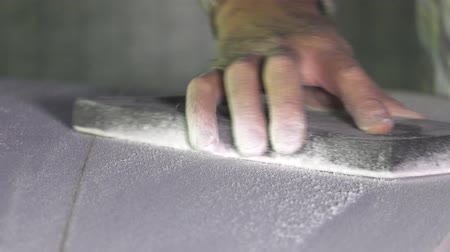 craftsman shaper of surfboards Stock Footage