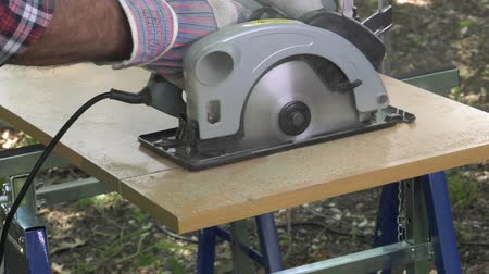 miter saw : cutting a panel with a circular saw