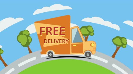 serbest : Free delivery van on the road with clouds and trees. Stok Video