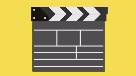 Доски : Cinema clapperboard. Filmmaking and video production device concept. Available in 4K FullHD and HD video flat design 2D animation footage