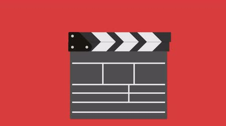 film slate : Cinema clapperboard. Filmmaking and video production device concept. Available in 4K FullHD and HD video flat design 2D animation footage
