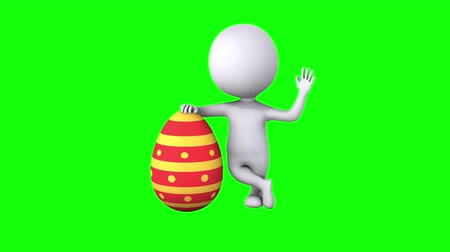 wielkanoc tło : 3d Man with Red Easter Egg Wideo