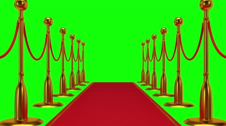 blockbuster : Animation of golden rope barrier with red carpet. Stock Footage