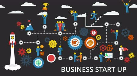 hierarchy : Business start up. Animated scheme with humans, icons and gears. Stock Footage