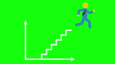 обязательство : Running man climb to business success step by step on diagram with arrows axis. Стоковые видеозаписи