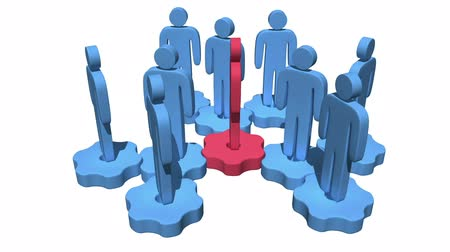lider : Teamwork. Group of stylized people stand on gears. Stok Video