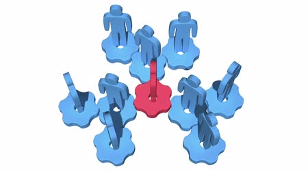 yönetmek : Teamwork. Group of stylized people stand on gears. Stok Video