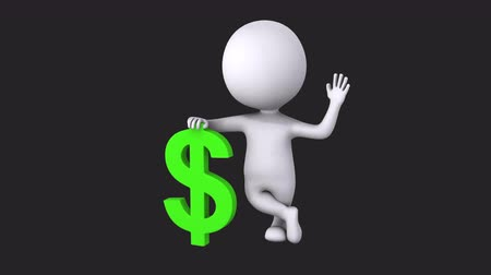 idiom : 3d white man stand with green dollar sign Stock Footage