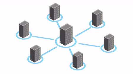 block chain : Datacenter server room. Isometric motion. Stock Footage