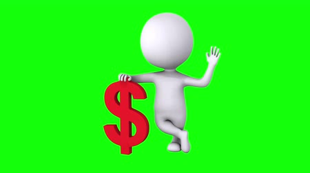 idiom : 3d white man stand with red dollar sign