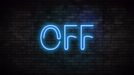 toggle : Off Blue Neon Light on Brick Wall Stock Footage