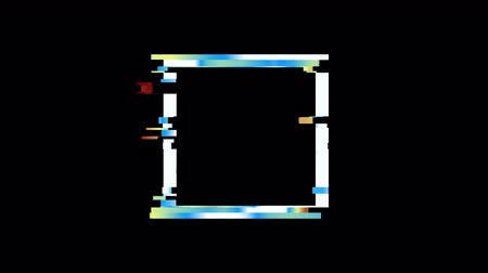 quadrate : Glitched square frame design Stock Footage